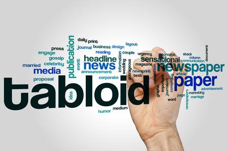 outrageous: Tabloid word cloud concept