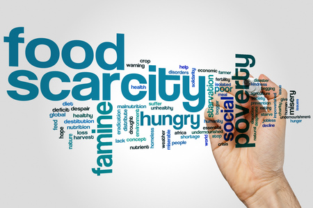 scarcity: Food scarcity concept word cloud background