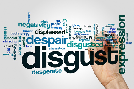 negativity: Disgust word cloud concept with negativity stress related tags