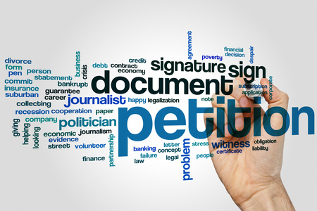 petition: Petition word cloud concept Stock Photo