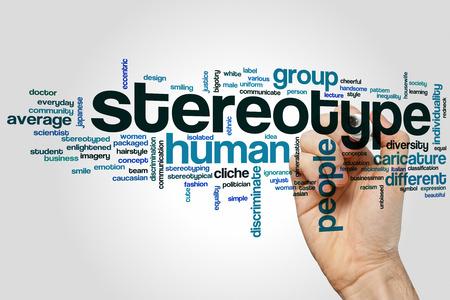 estereotipo: estereotipo concepto de nube de palabras de fondo