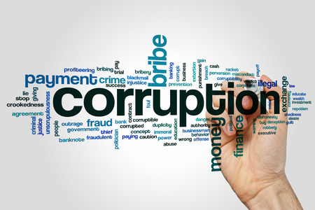misconduct: Corruption concept word cloud background