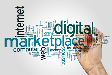 Digital marketplace concept word cloud background