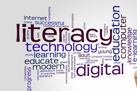 Digital literacy concept word cloud background