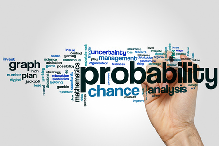 probability: Probability word cloud concept Stock Photo