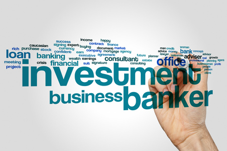 banker: Investment banker word cloud concept with loan bank related tags