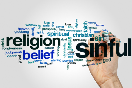 sinful: Sinful word cloud concept with religion sin related tags