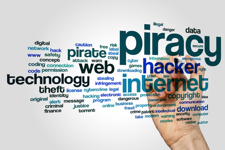 piracy: Piracy concept word cloud background Stock Photo