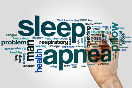 apnea: Sleep apnea word cloud concept with insomnia snore related tags