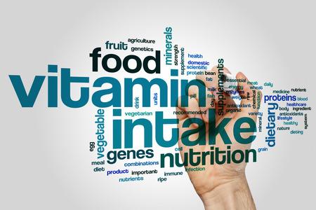 intake: Vitamin intake concept word cloud background