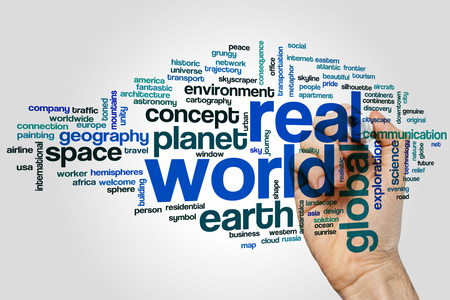real world: Real world concept word cloud background