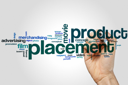 product placement: Product placement word cloud concept Stock Photo