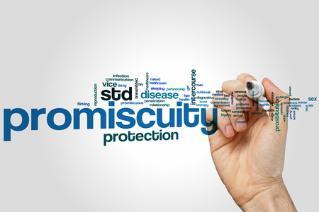 adult intercourse: Promiscuity word cloud concept Stock Photo