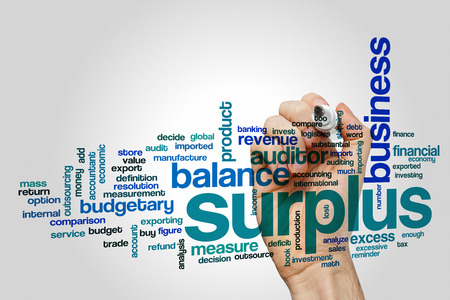 budgetary: Surplus word cloud concept