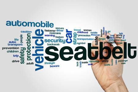 cinturon de seguridad: Cinturón de seguridad concepto de nube de palabras con etiquetas relacionadas cinturón del vehículo