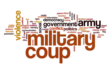 solider: Military coup word cloud Stock Photo