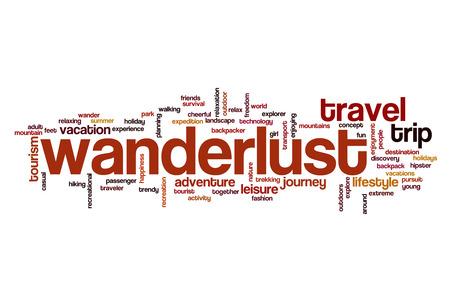 wanderlust: Wanderlust word cloud Stock Photo