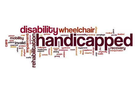 paraplegico: Discapacitados nube de palabras Foto de archivo