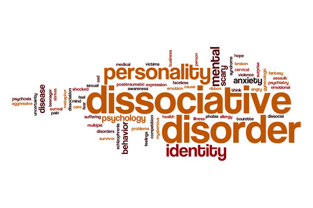 multiple personality: Dissociative disorder word cloud Stock Photo