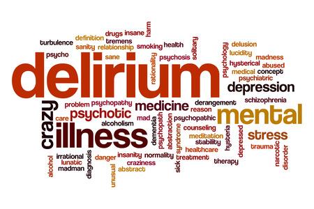 delirium: Delirium word cloud Stock Photo