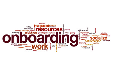 Onboarding word cloud Stock Photo