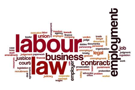 Diritto del lavoro, parola, nuvola Archivio Fotografico