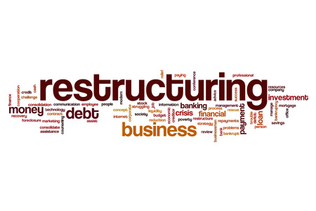 restructuring: Restructuring word cloud Stock Photo