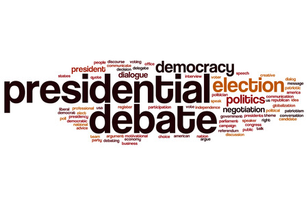 debate: Presidential debate word cloud Stock Photo