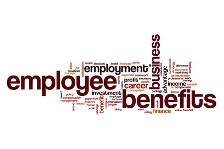 compensate: Employee benefits word cloud