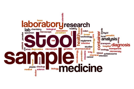 stool blood: Stool sample word cloud concept Stock Photo