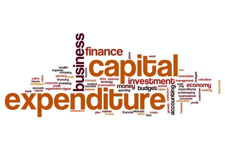 Los gastos de capital concepto de nube de palabras