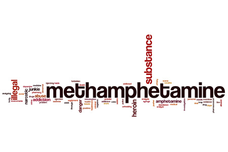 Methamphetamine word cloud concept Stock Photo