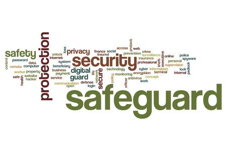 Safeguard word cloud concept Stock Photo