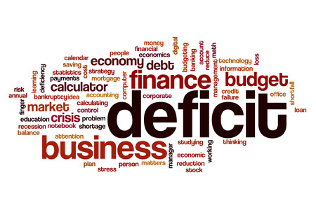 deficit: Deficit word cloud concept Stock Photo