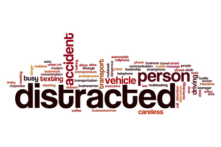 distracted: Distracted word cloud concept Stock Photo