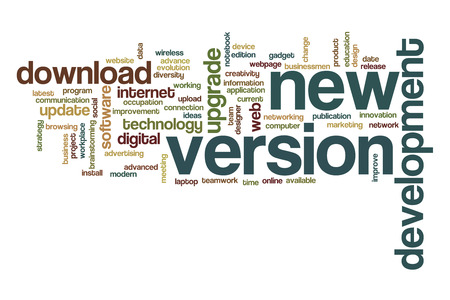 version: New version word cloud concept