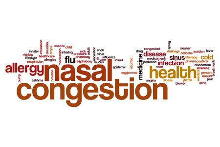 Nasal congestion word cloud concept Stock Photo