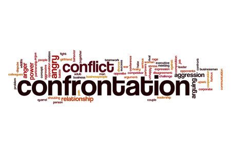 Confrontatie woord wolk concept