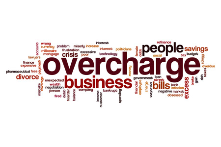 miserly: Overcharge word cloud concept Stock Photo