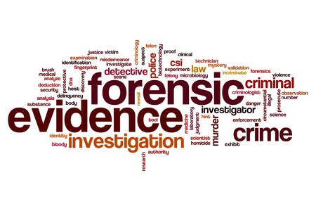 circumstantial: Forensic evidence word cloud concept Stock Photo
