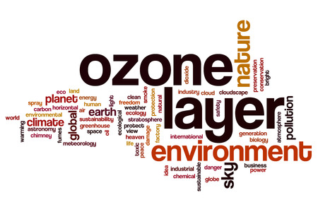ozone: Ozone layer word cloud concept Stock Photo