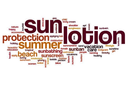 sun lotion: Sun lotion word cloud concept Stock Photo