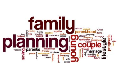 planificacion familiar: La pareja del concepto de planificaci�n nube de palabras Foto de archivo