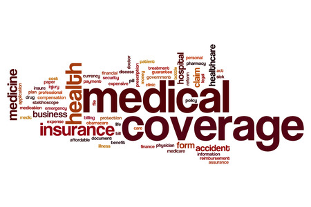 coverage: Medical coverage word cloud concept Stock Photo