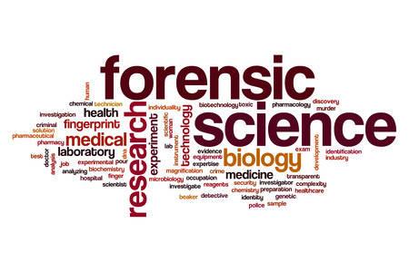 Forensic science word cloud concept Stock Photo