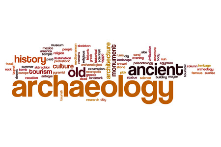 Archaeology word cloud concept Stock Photo