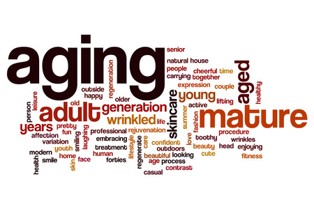 aging: Aging word cloud concept Stock Photo