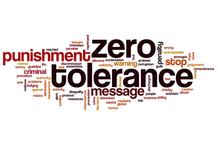 unacceptable: Zero tolerance word cloud concept