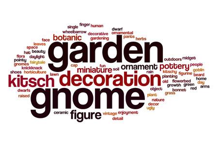 gnome: Garden gnome word cloud concept Stock Photo
