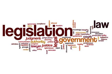 Legislation word cloud concept Banco de Imagens